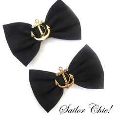 "Black with Anchors 3"" Rockabilly Hair Bows on clips Double Bows... ($9.61) ❤ liked on Polyvore"
