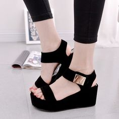 Cheap sandalias mujer, Buy Quality platform sandals black directly from China sandals black Suppliers: 2017 Women Platform Sandals Black White Sexy High Heel Wedge Sandals Fashion Summer Women Sandals Ladies Shoes Sandalias Mujer Shoes Heels Wedges, Women's Shoes Sandals, Wedge Shoes, Women Sandals, Shoes Women, Ladies Shoes, Flat Sandals, Flat Shoes, Ladies Sandals