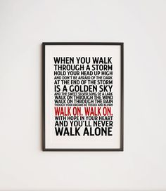 Liverpool F.C. Fan LFC You'll Never Walk Alone | Etsy Liverpool You'll Never Walk Alone, Purple Rain Lyrics, Liverpool Fans, Liverpool Gifts, Gerry And The Pacemakers, Bob Paisley, Royal Mail Postage, Football Icon, Football Art