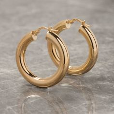 Thick Hoop Earrings In Gold Or Silver