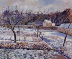 L'Hermitage, Pontoise Snow Effect - Camille Pissarro