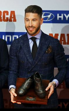 Sergio Ramos in lovely jacket. Tweed?