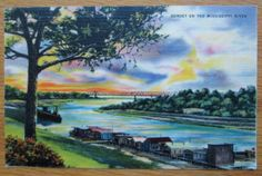 Glorious Vintage Sunset Postcard Mississippi River by jmpaquette76, $3.59