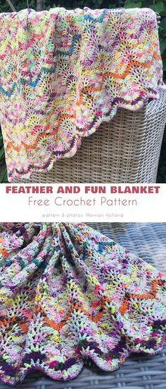 Feather and Fan Stitch Project Ideas Chevron Crochet Blanket Pattern, Crochet Flower Patterns, Afghan Crochet Patterns, Baby Blanket Crochet, Crochet Shawl, Free Crochet, Knit Crochet, Crochet Borders, Crochet Ideas