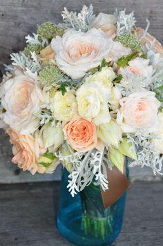 Reception Idea:  blush & white bridal bouquet # blue mason jar(or clear jar with deep purple water or stones)
