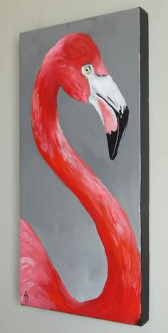 Greater Flamingo 6x12 original canvas painting, bird art