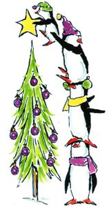 Four penguins stacked on top of each other putting the star on the top of their Christmas tree.