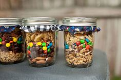 """Trail mix party favors. Fill with Sweet or Salty snacks and write """"It's a Girl"""" or """"It's a Boy"""""""