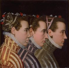 Triple Profile Portrait | Milwaukee Art Museum This stunning and unusual portrait is not as it appears. The figures outfitted in fashionable costume are men-not women. Research suggests that the sitters may, in fact, be the minions (or boyfriends) of French King François II (1544-1560).