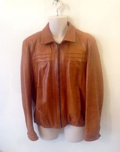 Fantastic Vintage 70s 80s Tan Leather Jacket by baileysbits