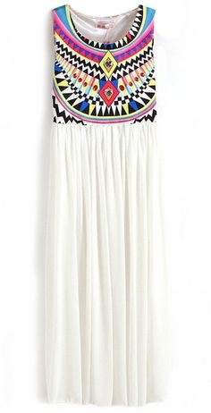 White Sleeveless Geometric Tribal Print Chiffon Dress - Sheinside.com