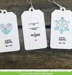 Linda designed some super cute and super quick gift tags for last-minute crafting! I always need an idea for a super fast to craft gift ta. Christmas Gift Wrapping, Christmas Tag, Tiny Tags, Lawn Fawn Blog, Wooden Tags, Lawn Fawn Stamps, Christmas Photography, Card Tags, Stampin Up Cards