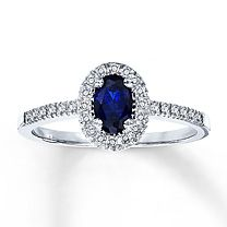 10K White Gold Diamond & Lab-Created Sapphire Ring