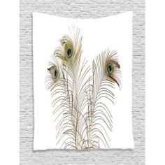 Peacock Decor Wall Hanging Tapestry, Peacock Feathers Closeup Simple Picture Minimalistic Design Stylish Home Artwork, Bedroom Living Room Dorm Accessories, By Ambesonne #bedroomdesigns #homedecoraccessories