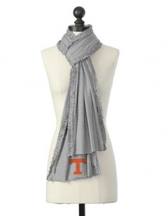 The University of Tennessee  Crystal Logo Ruffle Scarf in Gray