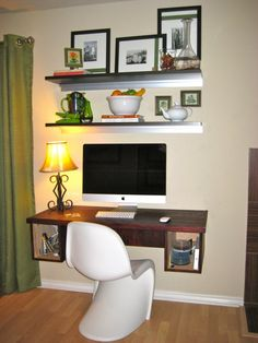 Decoration, Excellent Wooden Wall Mounted Desks With Large LCD For Computer Desktop With Cute Floating Rack With Chic Craft And Unique Pictu...