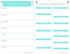 printable grocery list and meal planner
