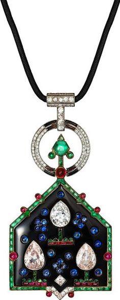 Cartier Art Deco Pendant, Yellow gold, platinum, onyx, emeralds, rubies, sapphires, diamonds.