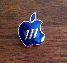 "Vintage 80's Apple Computer ""Apple III"" Dark Blue Lapel Pin"