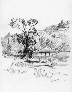 Album Archive - Sketches from California 2011 Pencil Sketches Landscape, Landscape Drawings, Pencil Art Drawings, Cool Drawings, Drawing Sketches, Composition Painting, Dancing Drawings, Scribble Art, Nature Sketch