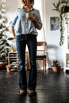 I wouldn't do cowboy boots, maybe, wedges, bootcut jeans and blue popover