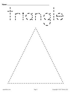 FREE preschool tracing shapes worksheets. Includes a triangle tracing worksheet plus 11 other shapes tracing worksheets. Great for toddlers too! Get them all here --> http://www.mpmschoolsupplies.com/ideas/7543/12-free-shapes-tracing-worksheets/