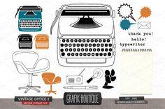 Vintage office, retro typewriter - Illustrations - 2