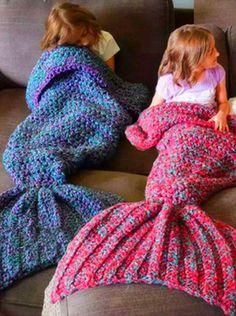 Cute Blue-Purple Mermaid Blanket Crocheted Blanket