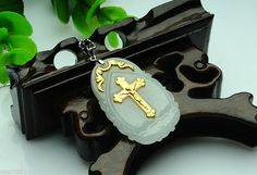 Solid 999 24k Yellow Gold & Natural A Grade Jade(Jadeite) Cross Pendant #handmade #Pendant
