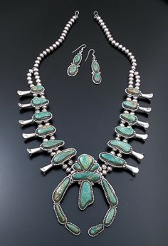 """Harvey Begay (Navajo) - 25"""" Green Manassa Turquoise & Sterling Silver Squash Blossom Necklace & Earrings Set #43424 Item 6 $2,280.00"""