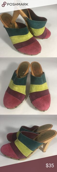 Coach clog mules Size 7 1/2 Coach clog mules shoes - Size 7.5 Fun and funky Coach wood soles heels. Great color. Worn a few Xs. Coach Shoes Mules & Clogs