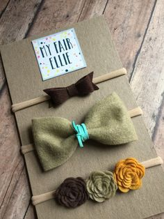 Fall Headband Set Fall Felt Bow Fall Felt Flower by MyFairEllie