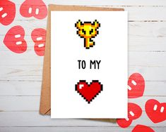 Who will get the key to your heart? This lovely card, inspired by the Legend of Zelda, and many more nintendo, 8 bit gaming and Pokemon themed cards can be found in our Etsy shop (PlayerNo2). We'd love to see you there :)