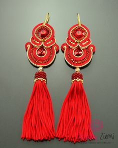 Long Red gold tassel earrings, red soutache earrings, red gold dangle earrings, long red boho unique earrings, red fringe, long red tassel ***** FAST SHIPPING - order is delivered to you by COURIER SHIPMENT ***** (phone number required)! Beautifully shining on the ear, they add a very