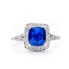 Beverley K engagement ring with cushion cut sapphire gem surrounded by pave diamonds, at Greenwich Jewelers  $7500