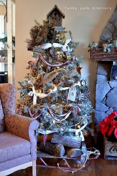 A treeless ladder Christmas tree - Day 10 - Funky Junk Interiors Ladder Christmas Tree, Unique Christmas Trees, Alternative Christmas Tree, Noel Christmas, Primitive Christmas, Country Christmas, Christmas Tree Decorations, Xmas Tree, Natural Christmas