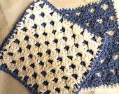 Crochet Washcloth Dishcloth Scrubbie 100% Cotton Blue & White Set of 2