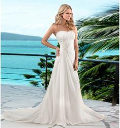 Simple Strapless A-line Affordbal Chiffon Beach Wedding Dresses