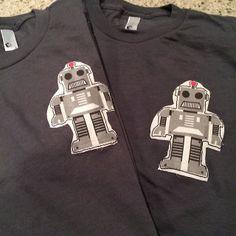 Custom fabric Robots hand sewn on tees