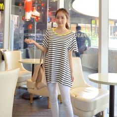 J78934 Loose contract color stripes t-shirt [J78934] - $5.78 : China,Korean,Japan Fashion clothing wholesale and Dropship online-Be the most beautiful Lady