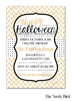 Orange and White Chevron and Black Polka Dots Happy Halloween Design Printable Invitation by TheNerdyBird1 on Etsy https://www.etsy.com/listing/200542305/orange-and-white-chevron-and-black-polka