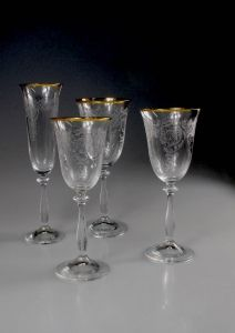Elegant and classic pure gold rimmed etched glassware hand made, will be available in four sizes for water, red and