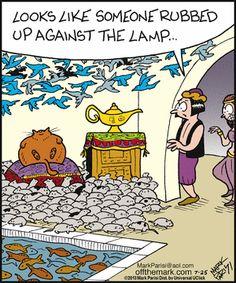Aladdin's cat - Off the Mark by Mark Parisi. July 25, 2013  on Gocomics.com