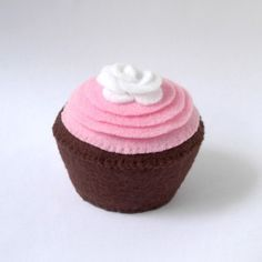 Pink Frosted Chocolate Plush Cupcake with White Rose. , via Etsy.