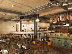 Our Italian cantine next to the office: Pizza East - Kentish Town, London Rustic Restaurant, Pizza Restaurant, Restaurant Interior Design, Cafe Interior, Restaurant Interiors, Restaurant Ideas, East London Restaurants, Best Italian Restaurants, Cafe Bar