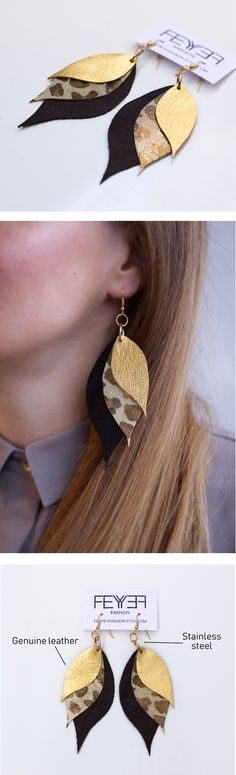 Stylish leopard leather and gold leather leaf earrings! HANDMADE STATEMENT EARRINGS. Your ears will be thankful for stainless steel hooks which are perfect if your ears are sensitive. Earrings are super light weight! This is a must have in your accessories! Leather Leaf, Gold Leather, Leather Earrings, Leather Jewelry, Bohemian Chic Fashion, Boho, Statement Earrings, Women's Earrings, Earrings Handmade