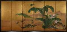 Landscape with banana plants and peonies  Yano Sessô (1714-1777) Mid Edo Period (1615-1867)  Six-fold screen Ink, pigments and gofun on gold-leaf ground, 181x380 cm  Signed: 法橋雪叟筆 (Hôkyô Sessô hitsu) Artist's seals  Being at the service of the Hosokawa clan, works from the Yano school painters are preserved in the Eisei-Bunko.
