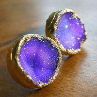 Purple druzy stud earrings, 18k gold dipped galaxy