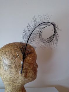 Millinery Feathers - Burnt Ostrich curl  - Black -  Millinery suppliestrim, hats, fascinators, races, wedding, bridal