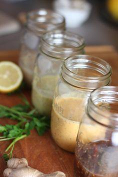 4 Healthy Vinaigrettes: Dijon Mustard Vinaigrette, Skinny Caeser Dressing, Fresh Tomato Vinaigrette, Ginger Sesame Vinaigrette
